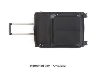 Large black travel bag on a white background. Isolated.