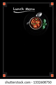 Large blackboard poster design for your lunch menu with a high resolution tomato and basil pasta and chalk headline copy. Text and border can be removed or repositioned easily.