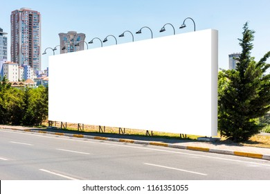 Large blank billboard giantboard for outdoor advertising.