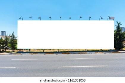 Large blank billboard giantboard for outdoor advertising.