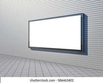Large blank billboard lightbox on a street gray wall, horizontal, 3d rendering