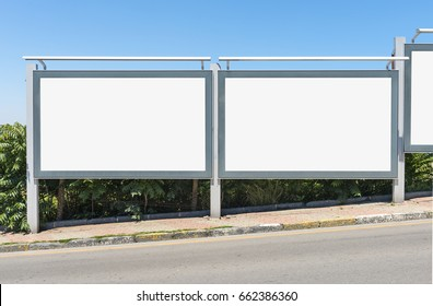 Large blank billboard for outdoor advertising.