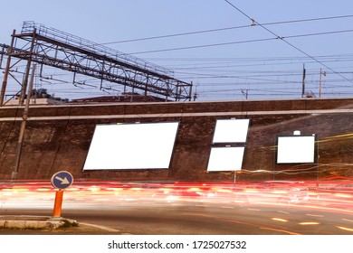 Large blank billboards on the street in the city, mock up - Image