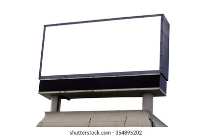 Large blank, empty, white billboard screen, isolated on white background, for your advertisement and design