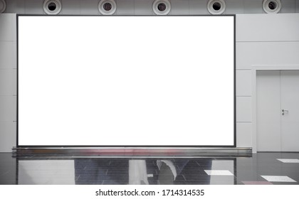 Large blank mock up of horizontal street poster billboard on airport background with entrance door.