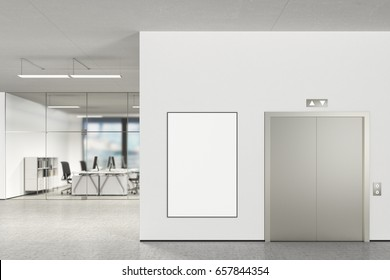 Large blank vertical poster on the wall and elevator in modern office with clipping path around poster. 3d illustration