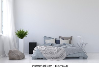 Large blank wall with white curtains, fern plant, night stand, lamp and floor cushion beside unmade bed and nobody in it. 3d Rendering.