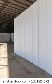 large blocks of Styrofoam in a warehouse, abstarct background scene