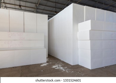 large blocks of Styrofoam in a warehouse, abstarct background scene