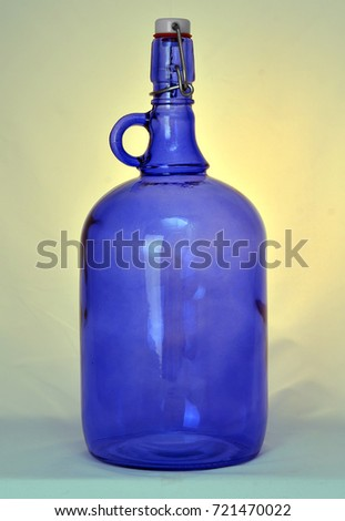 Large Blue Glass Bottle Cork Wine Stock Photo Edit Now 721470022