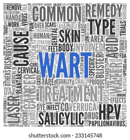 Large Blue Wart Text with Black and Gray Related Words in Word Tag Cloud on White Background