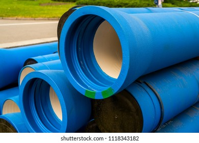 Large blue water pipes for water supply repair