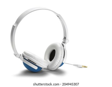 Large Blue and White Headphones Isolated on White Background.