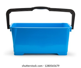 Large Blue Window Cleaning Bucket Isolated on White.