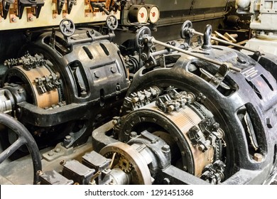 Large boat engine motor machinery in hold of ship