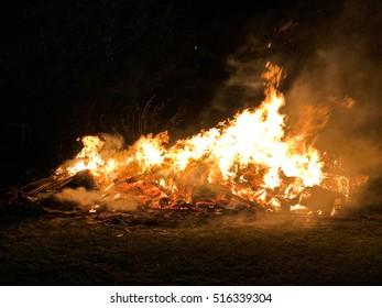 Large bonfire on Bonfire night