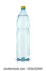 large bottle with flavored water on a white background