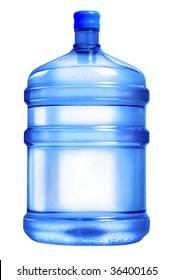 A large bottle of pure water on a white background. Studio work.