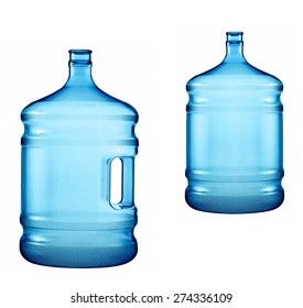 large bottles of pure water on a white background