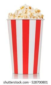 Large box of delicious fresh popcorn isolated on white background