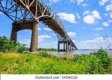Large bridge on Interstate Ten over the Gulf coast area between Louisiana and Texas.