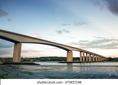 large bridge over the orwell river near Ipswich in Suffolk, england