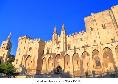 Large building of the Papal Palace (Palais des Papes) in Avignon, Provence, France
