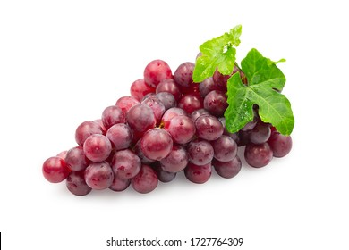 Large bunch fresh ripe organic red grape with leaves on white isolated background with clipping path. Red grape have sweet taste, juicy and delicious, use for make wine. Fresh fruit concept.