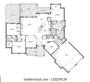 Large Bungalow Floor Plan with Room Names