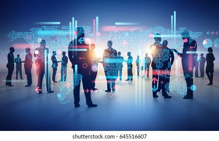 Large business group working. Concept illustration. 3D rendering