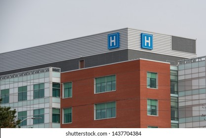 Large Canadian Urban Hospital with classic Ontario hospital signage