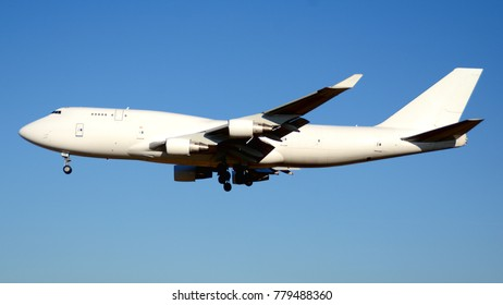 Large Cargo Jet Flying with Landing Gear Down