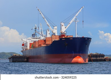 A Large cargo ship anchored offshore thailand
