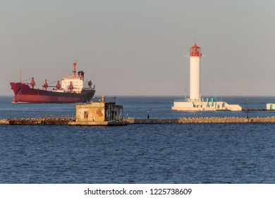 A large large cargo ship enters the harbor of a container terminal in the Odessa seaport, the largest Ukrainian seaport and a large cargo and passenger transport hub of Ukraine