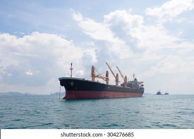 Large cargo ship. Large ship moored in the sea.