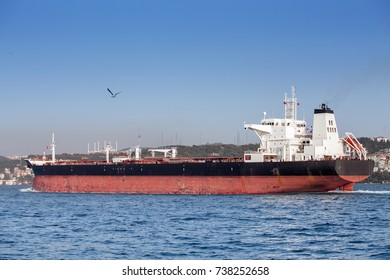 Large cargo ship tanker in the Bosphorus Strait in Istanbul, freight water transport concept