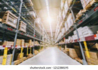 Large cargo warehouse shelves virtual focus background