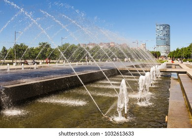 A large cascade of fountains. St. Petersburg, Russia - 15 June, 2017. Types of the park 300 years of St. Petersburg in the summer.
