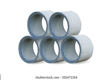 A large cement pipe isolated on white with clipping path.