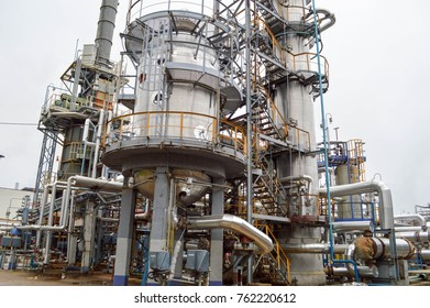 Large chemical capacity at the oil refinery, new equipment. Oil and gas.