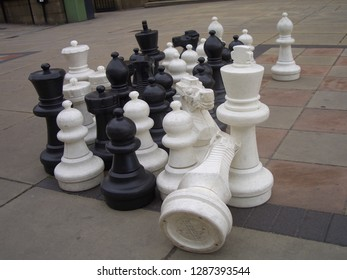 Large chess pieces in the street