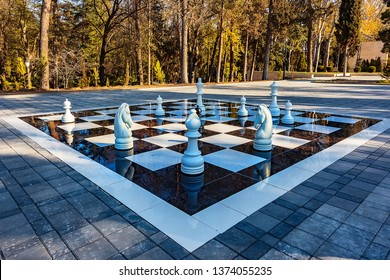 large chessboard and chess, standing in beautiful green garden, on background of palm, trees. Large outdoor chess board on tile. Chessboard outdoors. Giant black and white chess pieces. Chess game.