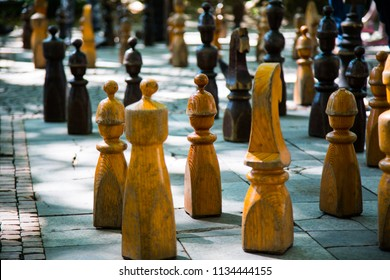Large chessmen on public square
