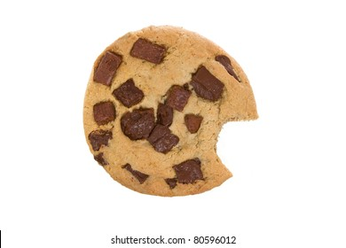 Large Chocolate Chip Cookie with Bite Eaten Isolated on a White Background
