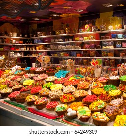 Large choice of sweets in a candy shop
