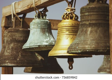large Church bells hanging outside