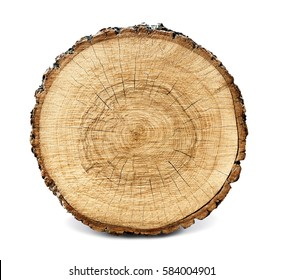 Large circular piece of wood cross section with tree ring texture pattern and cracks isolated on white background. Detailed organic surface from nature.