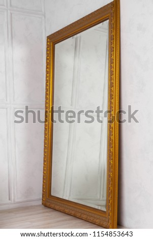 Large Classic Mirror Golden Wooden Frame Stock Photo (Edit Now ...