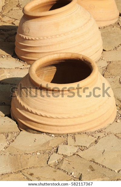 The large, clay pots dug into the ground for the production of wine  in Taman Krasnodar region of Russia