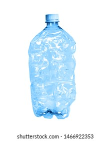 A large clear bottle on a white background. Bottle with blue lid. Plastic waste. Environmental problem. Trash in the ocean.
